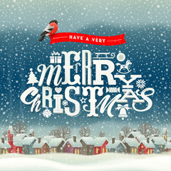 Christmas greeting type design with winter village scene