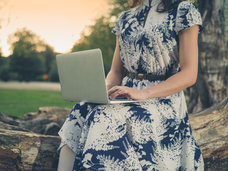 Young woman using laptop in park at sunset