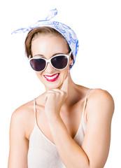 Smiling pin-up girl