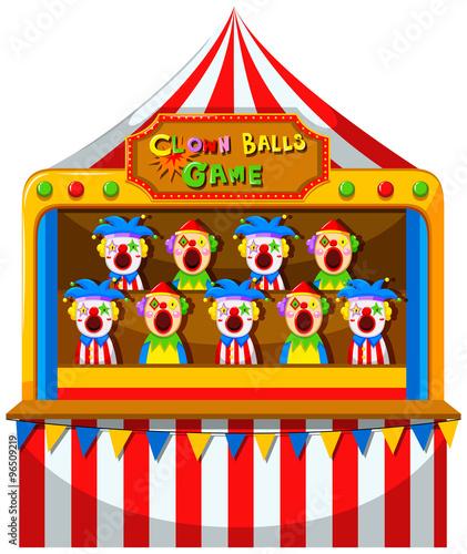 Clown ball game at the circus