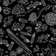 Vector hand drawn pasta pattern.