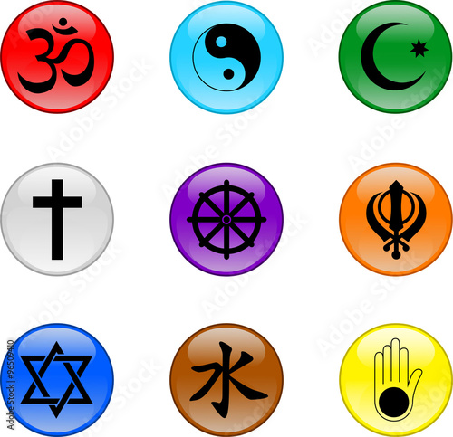 Religious Symbols Set Of Vector Graphic Glossy Buttons - Main religions