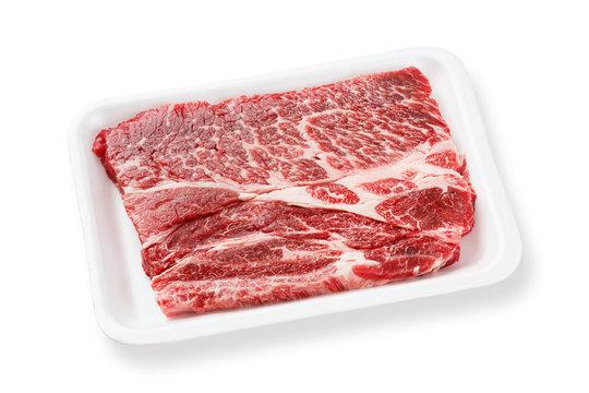 Beef chuck steak on foam tray