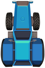 Top view of blue tractor