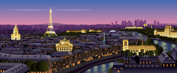 Paris / Paris cityscape at dusk. No transparency used. Basic (linear) gradients.