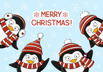 Cute cartoon penguins on snow background