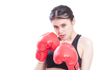 Boxer - portrait of fitness woman boxing wearing boxing gloves on white background.
