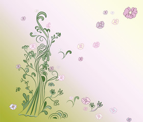 Nature background. Tree and flowers life. Vector