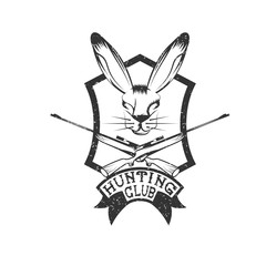 grunge hunting club crest with carbines and hare