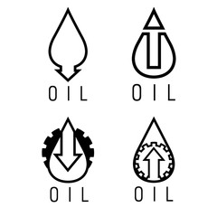 fall and rise of oil prices vector logo set