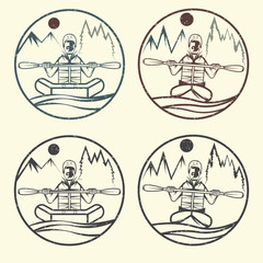 vintage grunge vector labels of rafting and kayaking