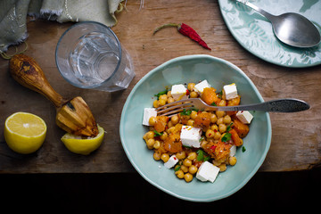 salad with pumpkin, chickpea and feta.
