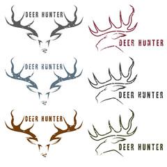 deer hunter vector vintage grunge emblems set