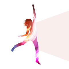 Jumping woman silhouette illustration vector background colorful