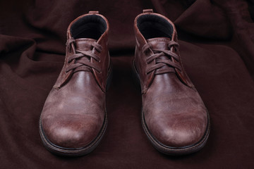 Mens shoes  on brown background
