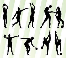 Kid girl with ball rhythmic gymnastics vector background