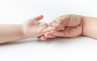 Father hand touch on boy hand isolated