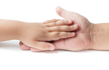 Little hand  touch on father hand isolated