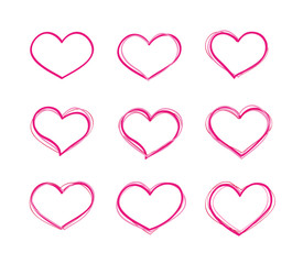 Hand-drawn felt-tip pen vector red heart shapes set