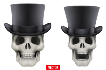 Human skull with black cylinder hat