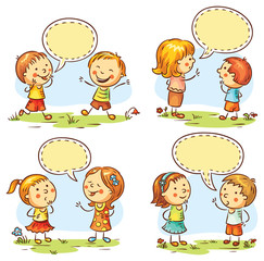 Fototapete - Happy kids talking and showing different emotions, set of four scenes with speech bubbles