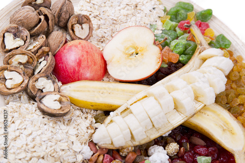 """oatmeal, nuts, dried fruit and nuts"""" Stock photo and royalty-free ..."""