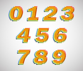 Colorful lines vector numbers. Use for design.