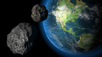meteors and earth in space