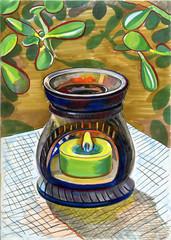 Aromatherapy. Aromalamp and Crassula. Hand drawn illustration.