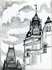 Prague- black and white drawing.  European buildings and architecture.