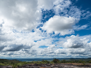 cloudy blue sky as seen in the elevated mountain summit