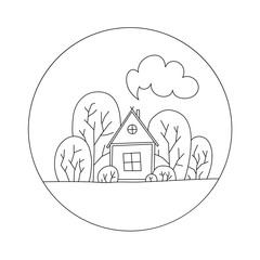 linear illustration house in trees