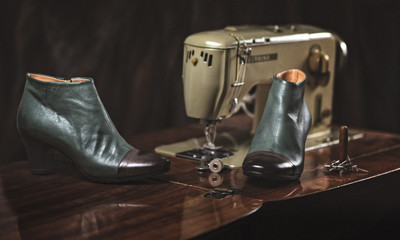 Shoe green brown ankle boot