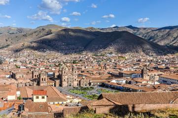 Wall Mural - Aerial view of the main square in Cusco, Peru