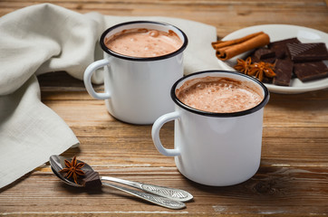 Hot chocolate on the rustic wooden table