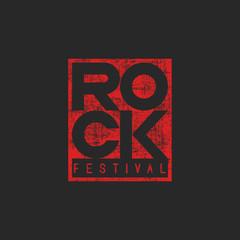 Word rock poster, musical grunge mockup t-shirt print, emblem  ticket template