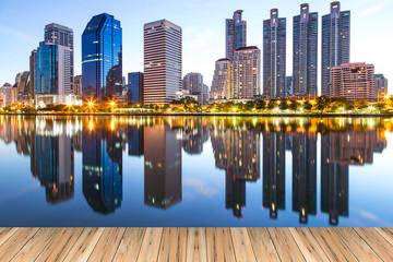 Landscape building modern business district of bangkok at twilgi