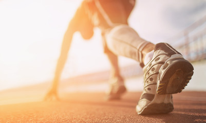 Athlete runner feet running on treadmill closeup on shoe Wall mural