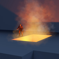 man standing on the edge fiery abyss