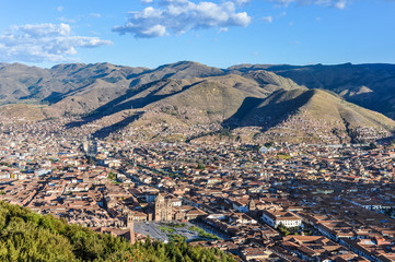 Wall Mural - Aerial view of the city in Cusco, Peru