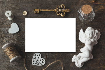 Cute vintage  mockup on a wooden background.