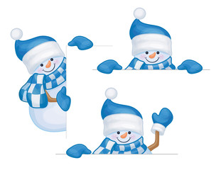 Vector snowmen cartoons hiding by blank isolated.