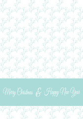 Vector Christmas card template with winter flower branches. Floral greeting postcard, part of Christmas collection. Can be used for printing, invitations, scrapbooking, calendars etc.