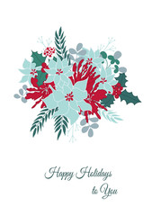 Vector Christmas card template with winter flowers, leaves and berries. Floral greeting postcard, part of Christmas collection. Can be used for printing, invitations, scrapbooking, calendars etc.