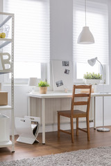 Comforable wood chair and desk