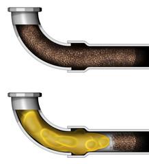 Pulizia tubo di scarico intasato