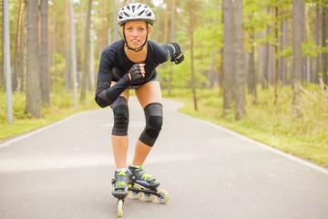 Woman roller skater training