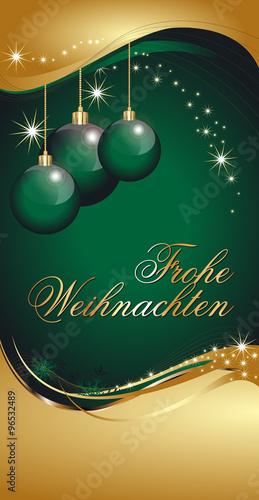 Christbaumkugeln Hellgrün.Weihnachtskarte In Gold Und Grün Mit Goldenen Christbaumkugeln