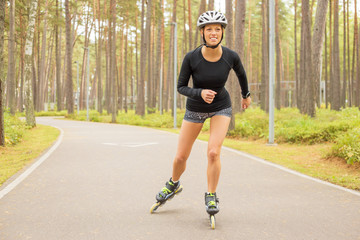 Woman athlete on roller skates