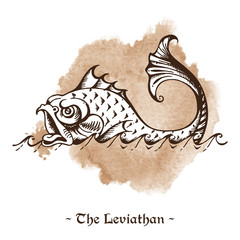 The Leviathan. Legendary sea monster giant whale hand drawn vector illustration